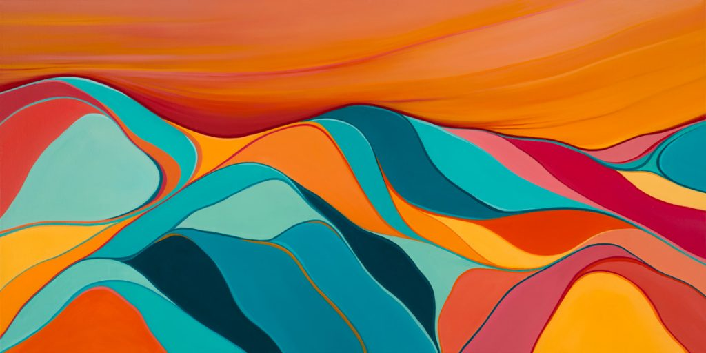 Abstract rolling hills - oranges and blues
