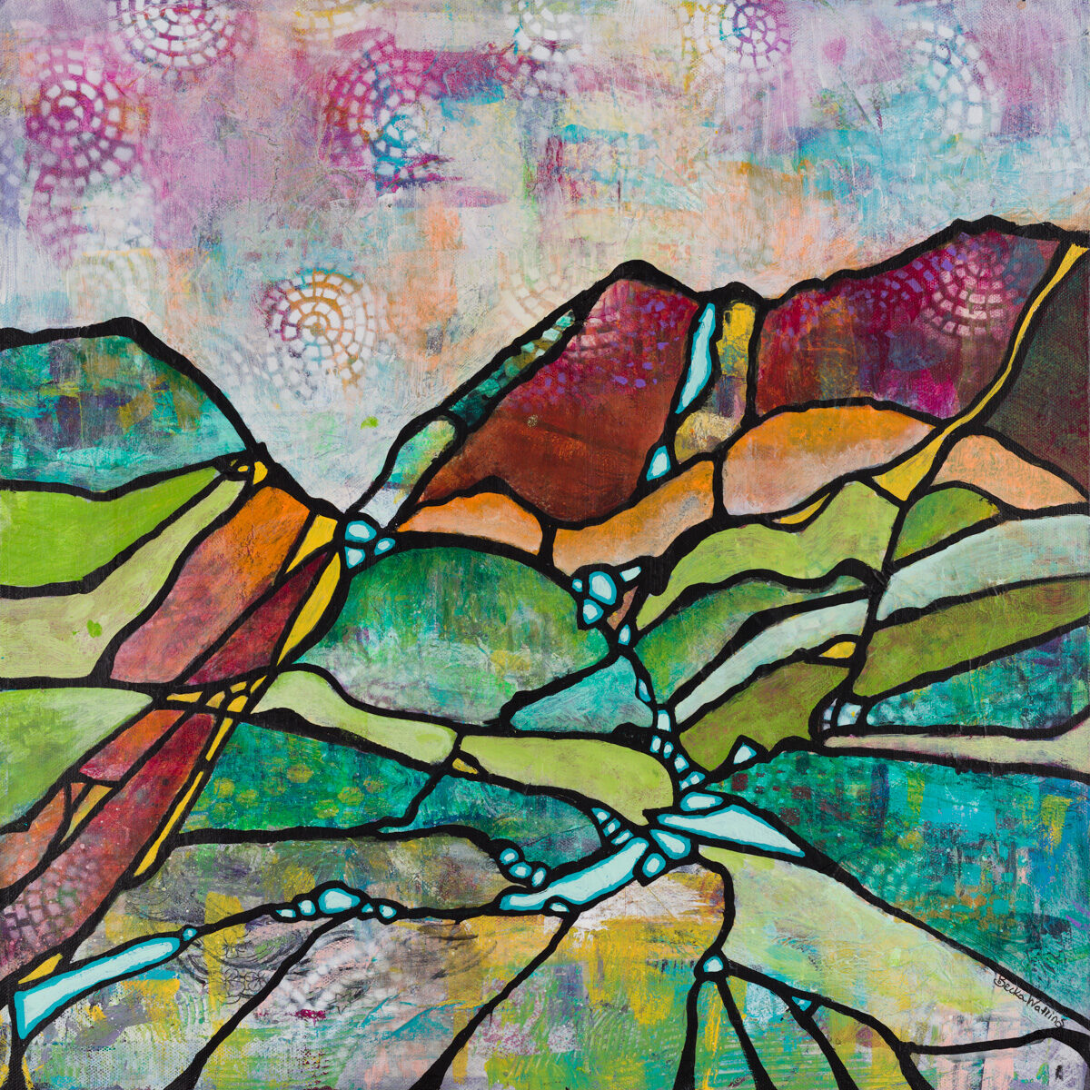 """Ridges and Rivers"" by Becka Watkins, 20x20"" wrapped canvas (no frame)"