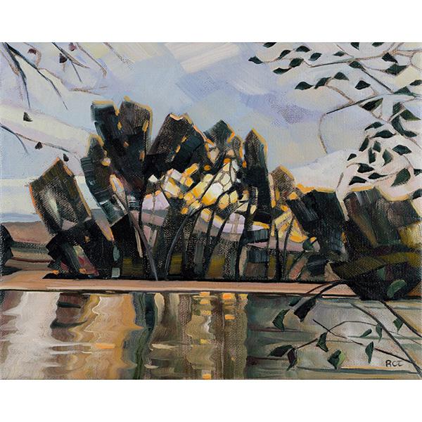 """""""First Autumn Morning on the Boise River"""" by Rachel Teannalach, 8x10"""""""